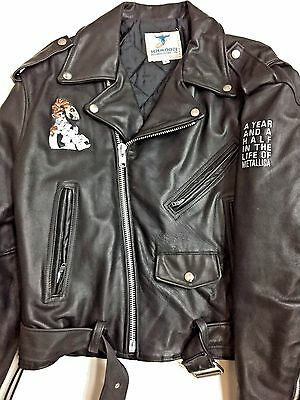 METALLICA official  crew/band leather Motorcycle tour jacket  Large PUSHEAD