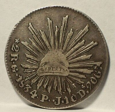 NICE !  MEXICO 2  REALES 1834 SILVER COIN LIBERTAD  Fine+ / XF Details   KM#374
