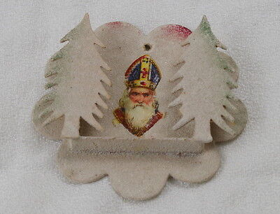 Antique cardboard Christmas ornament, Saint Nicholas, sprinkled with glass beads