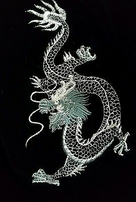 VTG Asian/Embroidered Dragon/Silk/Reversible/Floral/Quilted/Velvet/Gray/S