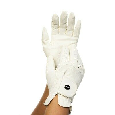 Dublin Dressage Grippy Leather Riding Gloves - Black or White - Different Sizes