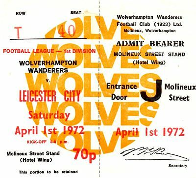 Wolves v Leicester City 1971/72 ticket