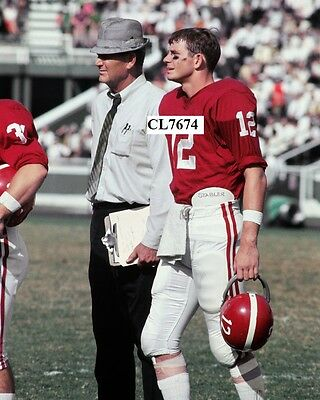 Paul Bear Bryant and Ken Stabler on Alabama Mississippi Football Game Photo