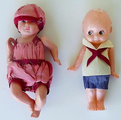"""Vintage Marked Occupied Japan Girl - Boy Celluloid Jointed Toys 4"""" Tall"""