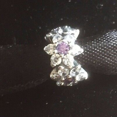Genuine Pandora Silver Purple Forget Me Not Bead Charm 791834ACZ
