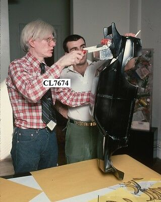 Andy Warhol with a Sculptural Work in Progress Photo