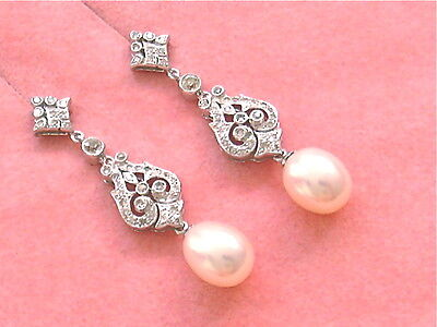 ANTIQUE EDWARDIAN STYLE .42ctw DIAMOND WHITE PEARL DROP 18K COCKTAIL EARRINGS