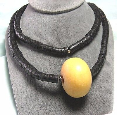 Necklace w Copal Amber Bead and Heishi Style Disc Beads