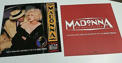 """2 MADONNA """"I'm Breathless: Dick Tracy 2-sided PROMOTIONAL  FLAT /Posters  12x12"""