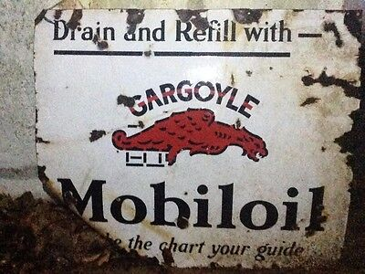 "Gargoyle Mobil oil Porcelain Sign ""Make the chart your guide"" 30"" x 36"""