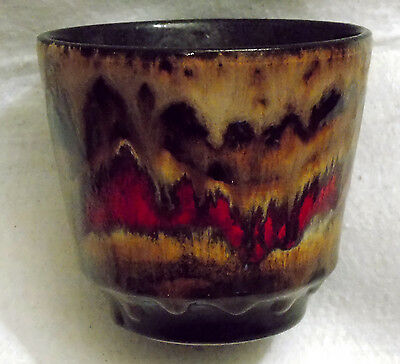 Small 1970s West German Planter Ref 200-1 Shades of Brown & Red Lava Glaze
