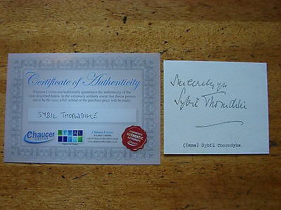 Dame Sybil Thorndyke SIGNED card Autograph 4 x 3.5 with COA