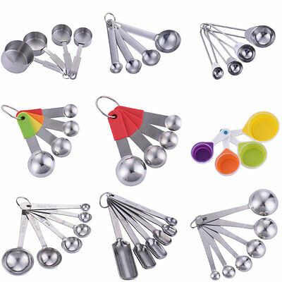 New Stainless Steel Measuring Soup Spoons Set Baking Scoop Teaspoon Kitchen Tool