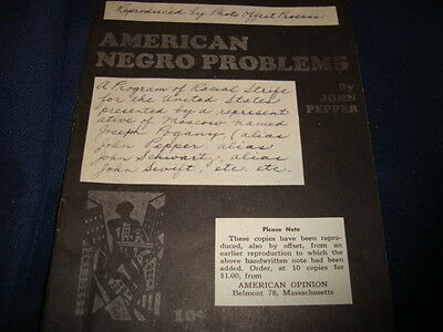 Vintage American Negro Problems Communist American Opinion  1928 Reproduced