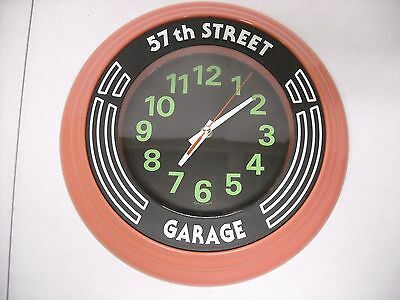 "57th STREET GARAGE Large 14"" Wall Clock, Man Cave, Automotive, Battery Operated"