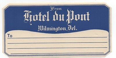 1930s Luggage Label from the Hotel DuPont Wilmington Delaware