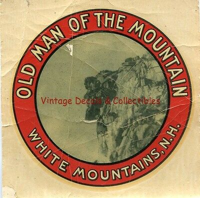 Vintage 1947 Old Man White Mountains New Hampshire Souvenir State Travel Decal