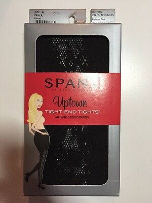 SPANX Uptown Tight-End Tights Black Fishnet Flair Small (A) NWT