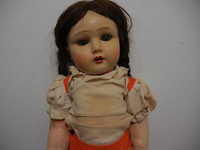 "Antique Composition Doll 17"" Unica Belgium #56 Original Clothes Teeth Glass Eyes"