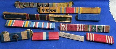 WWII Army Navy USMC Pacific, European, Philippines Campaign Ribbon Bars Lot
