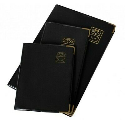 Cumberland Address Book With Gold Corners 174mm x 85mm - Black