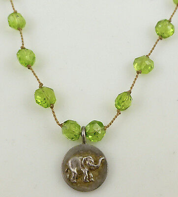 925 Sterling Silver Elephant Round Pendant Green Peridot Beaded Cord Necklace