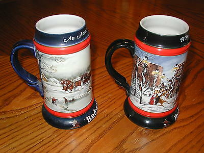 1990 and 1992 Budweiser -  Christmas Holiday Beer Stein Mug Anheuser-Busch