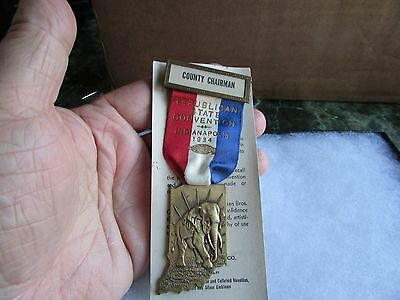 1934 Indiana Republican State Convention County Chairman Badge - Indianapolis