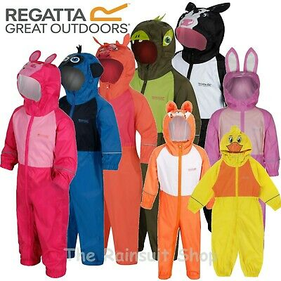 Regatta Puddle Fully Waterproof All In One Charco Rain Suit Kids Childs -Rkw148