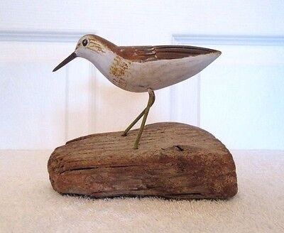 Vintage Hand Carved Folk Art Shore Sandpiper Bird Carving Decoy