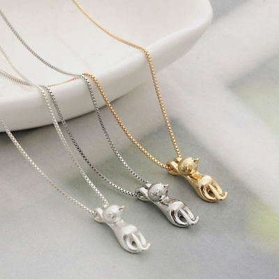 Fashion Women 925 Sterling Silver Cat Chain Pendant Necklace Charm Jewelry