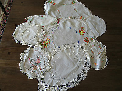 Nice Vintage 10 Doilies, Lace Embroidery detailed Shabby Chic Lot 5