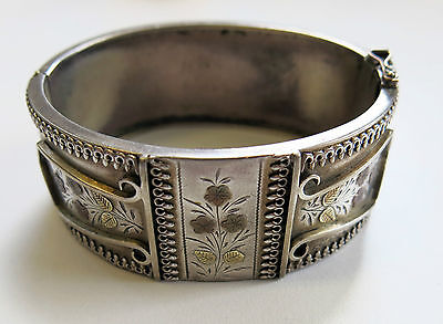 Antique Victorian Sterling Silver Cuff/Bangle Two Tone Gold Inlay Floral Motif