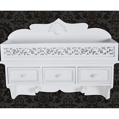 S# New White Wall Shelf 3 Drawer Cabinet Storage Cupboard French Provincial Bedr