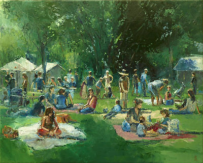 'Picnic in the Park' Original Large Oil Painting on Canvas by Dusan Trees Nature
