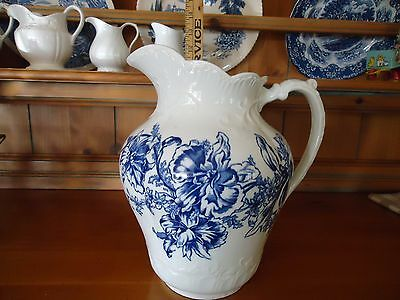 Large Blue and White Transferware Pitcher – Antique!