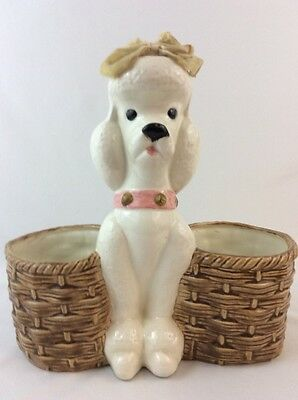 """Vintage French White Poodle Ceramic Double Basket Planter 11.25"""" Tall Dog Bow"""