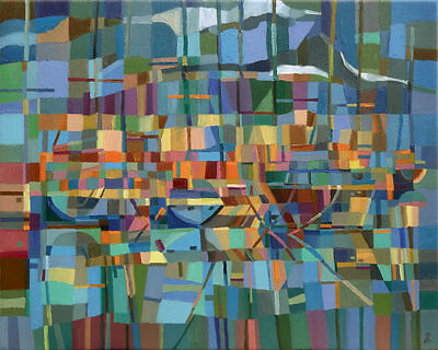 'Boats at the Marina' Original Large Oil Painting on Canvas by Dusan Abstract