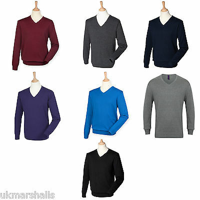 Henbury Men's Lightweight Cotton Acrylic V Neck Sweater Xxs-4Xl H720
