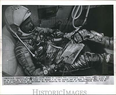 1962 Press Photo Astronaut John Glenn rides to launch pad, Cape Canaveral