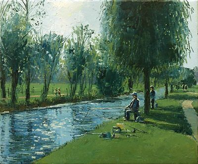 'Catching Lunch' Original Oil Painting on Canvas by Dusan Art River Fishing