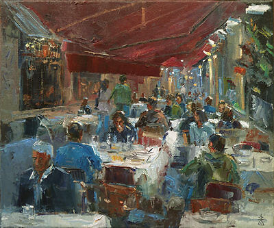 'At the Cafe' Original Oil Painting on Canvas by Dusan Art City Lane