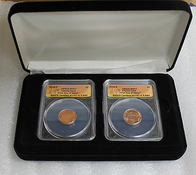 2010 Lincoln Cent  ANACS MS67 First Day Issue - P & D Set #0797/9849 with CoA