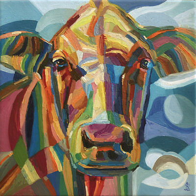 'Moo Cow' Original Oil Painting on Canvas by Dusan Abstract Cubism Cow Moo
