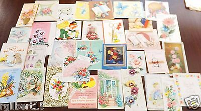 30 Vintage Greeting Cards 50's 60's Flowers  Used Lot