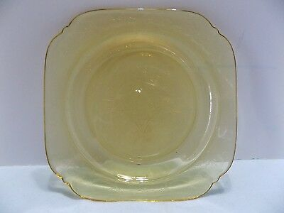 """1  Vintage Madrid Federal Depression Glass Yellow Amber 7"""" Bread Butter Plate"""