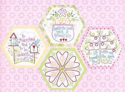Best Friends Forever 2 - stitchery BOM hexagons - PATTERN + preprinted fabric