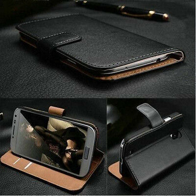 Luxury Genuine Real Leather Flip Stand Case Wallet Cover Skin For Samsung/iPhone