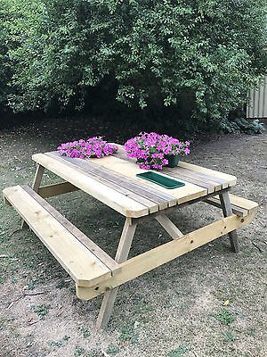 Outdoor Timber Picnic Table Garden Rustic Treated Pine 2x Buckets -Ice/Planters