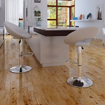 2x Leather Bar Stool White Kitchen Dining Chair Gas Lift Steel Modern Adjustable